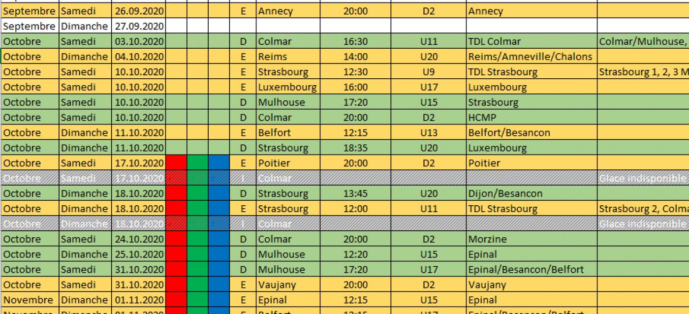 Championnat 2020 2021 : Le calendrier est là | Hockey Club Colmar